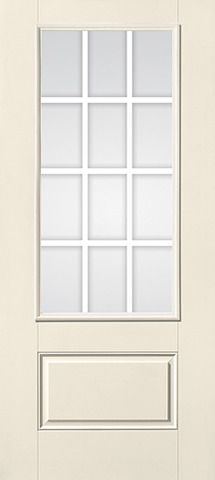 WDMA 34x80 Door (2ft10in by 6ft8in) Patio Smooth GBG Flat Wht Colonial 12 Lite 3/4 Lite 1 Panel Star Single Door 1