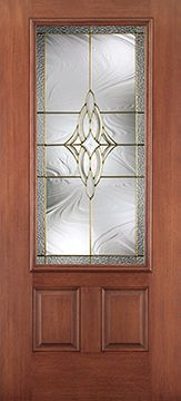 WDMA 34x80 Door (2ft10in by 6ft8in) Exterior Mahogany Fiberglass Impact Door 3/4 Lite 2 Panel Wellesley 6ft8in 1