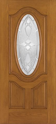 WDMA 34x80 Door (2ft10in by 6ft8in) Exterior Oak Fiberglass Door 3/4 Deluxe Oval Lite 2 Panel 6ft8in 1