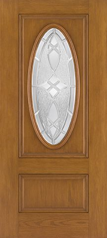 WDMA 34x80 Door (2ft10in by 6ft8in) Exterior Oak Fiberglass Door 3/4 Captured Oval Lite 6ft8in 1