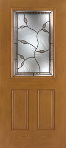 WDMA 34x80 Door (2ft10in by 6ft8in) Exterior Oak Fiberglass Impact Door 1/2 Lite Avonlea 6ft8in 1