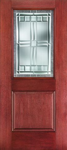 WDMA 34x80 Door (2ft10in by 6ft8in) Exterior Mahogany Fiberglass Impact HVHZ Door 1/2 Lite 1 Panel Saratoga 6ft8in 1
