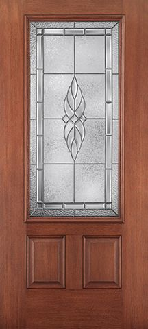 WDMA 34x80 Door (2ft10in by 6ft8in) Exterior Mahogany Fiberglass Impact Door 3/4 Lite 2 Panel Kensington 6ft8in 1