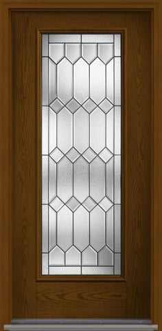 WDMA 34x80 Door (2ft10in by 6ft8in) Exterior Oak Crystalline Full Lite W/ Stile Lines Fiberglass Single Door 1