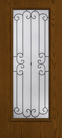WDMA 34x80 Door (2ft10in by 6ft8in) Exterior Oak Riserva Full Lite W/ Stile Lines Fiberglass Single Door HVHZ Impact 1
