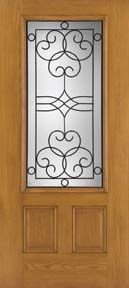 WDMA 34x80 Door (2ft10in by 6ft8in) Exterior Oak Fiberglass Impact Door 3/4 Lite Salinas 6ft8in 1