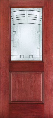 WDMA 34x80 Door (2ft10in by 6ft8in) Exterior Mahogany Fiberglass Impact HVHZ Door 1/2 Lite 1 Panel Maple Park 6ft8in 1
