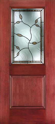 WDMA 34x80 Door (2ft10in by 6ft8in) Exterior Mahogany Fiberglass Impact HVHZ Door 1/2 Lite 1 Panel Avonlea 6ft8in 1