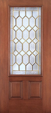 WDMA 34x80 Door (2ft10in by 6ft8in) Exterior Mahogany Fiberglass Impact Door 3/4 Lite 2 Panel Crystalline 6ft8in 1
