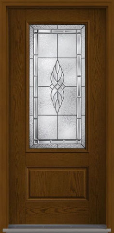 WDMA 34x80 Door (2ft10in by 6ft8in) Exterior Oak Kensington 3/4 Lite 1 Panel Fiberglass Single Door 1