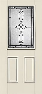 WDMA 34x80 Door (2ft10in by 6ft8in) Exterior Smooth Fiberglass Impact HVHZ Door 1/2 Lite 2 Panel Blackstone 6ft8in 1