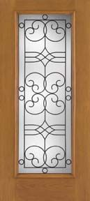 WDMA 34x80 Door (2ft10in by 6ft8in) Exterior Oak Fiberglass Impact Door Full Lite Salinas 6ft8in 1