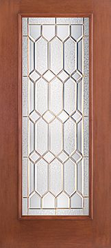 WDMA 34x80 Door (2ft10in by 6ft8in) Exterior Mahogany Fiberglass Impact Door Full Lite With Stile Lines Crystalline 6ft8in 1