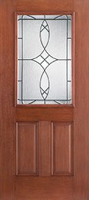 WDMA 34x80 Door (2ft10in by 6ft8in) Exterior Mahogany Fiberglass Impact Door 1/2 Lite 2 Panel Blackstone 6ft8in 1
