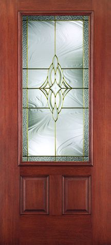 WDMA 34x80 Door (2ft10in by 6ft8in) Exterior Mahogany Fiberglass Impact HVHZ Door 3/4 Lite 2 Panel Wellesley 6ft8in 1