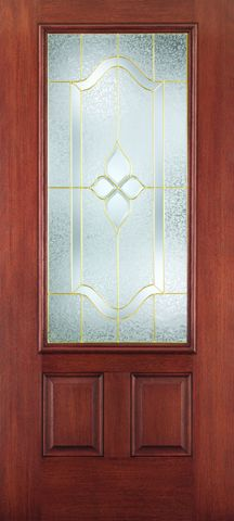WDMA 34x80 Door (2ft10in by 6ft8in) Exterior Mahogany Fiberglass Impact HVHZ Door 3/4 Lite 2 Panel Concorde 6ft8in 1