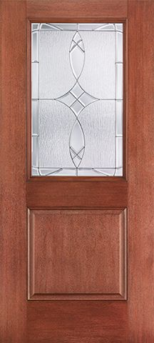 WDMA 34x80 Door (2ft10in by 6ft8in) Exterior Mahogany Fiberglass Impact Door 1/2 Lite 1 Panel Blackstone 6ft8in 1