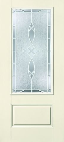 WDMA 34x80 Door (2ft10in by 6ft8in) Exterior Smooth Fiberglass Impact Door 3/4 Lite 1 Panel Blackstone 6ft8in 1