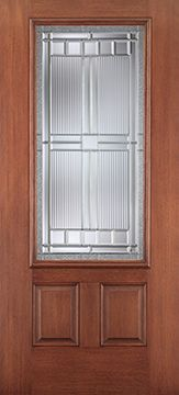 WDMA 34x80 Door (2ft10in by 6ft8in) Exterior Mahogany Fiberglass Impact Door 3/4 Lite 2 Panel Saratoga 6ft8in 1