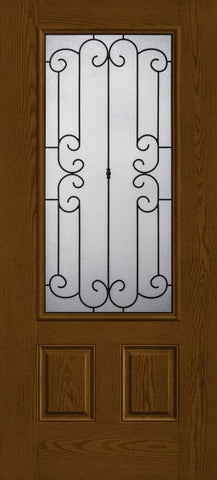 WDMA 34x80 Door (2ft10in by 6ft8in) Exterior Oak Riserva 3/4 Lite 2 Panel Fiberglass Single Door 1