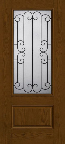 WDMA 34x80 Door (2ft10in by 6ft8in) Exterior Oak Riserva 3/4 Lite 1 Panel Fiberglass Single Door 1