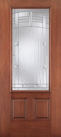 WDMA 34x80 Door (2ft10in by 6ft8in) Exterior Mahogany Fiberglass Impact Door 3/4 Lite 2 Panel Maple Park 6ft8in 2
