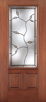 WDMA 34x80 Door (2ft10in by 6ft8in) Exterior Mahogany Fiberglass Impact Door 3/4 Lite 2 Panel Avonlea 6ft8in 1