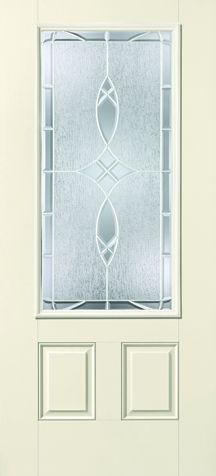 WDMA 34x80 Door (2ft10in by 6ft8in) Exterior Smooth Fiberglass Impact Door 3/4 Lite 2 Panel Blackstone 6ft8in 1