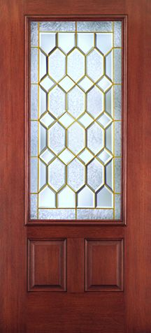 WDMA 34x80 Door (2ft10in by 6ft8in) Exterior Mahogany Fiberglass Impact HVHZ Door 3/4 Lite 2 Panel Crystalline 6ft8in 1