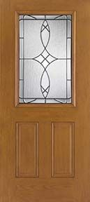 WDMA 34x80 Door (2ft10in by 6ft8in) Exterior Oak Fiberglass Impact Door 1/2 Lite Blackstone 6ft8in 2