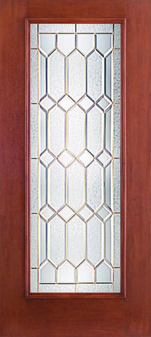 WDMA 34x80 Door (2ft10in by 6ft8in) Exterior Mahogany Fiberglass Impact HVHZ Door Full Lite With Stile Lines Crystalline 6ft8in 1