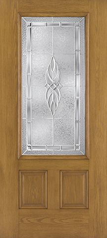 WDMA 34x80 Door (2ft10in by 6ft8in) Exterior Oak Fiberglass Impact Door 3/4 Lite Kensington 6ft8in 1