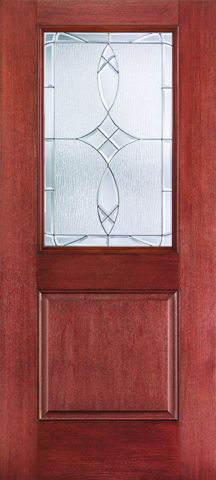 WDMA 34x80 Door (2ft10in by 6ft8in) Exterior Mahogany Fiberglass Impact HVHZ Door 1/2 Lite 1 Panel Blackstone 6ft8in 1