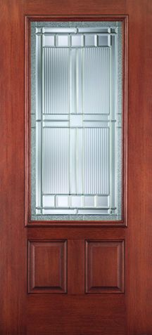 WDMA 34x80 Door (2ft10in by 6ft8in) Exterior Mahogany Fiberglass Impact HVHZ Door 3/4 Lite 2 Panel Saratoga 6ft8in 1