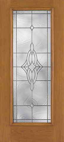 WDMA 34x80 Door (2ft10in by 6ft8in) Exterior Oak Fiberglass Impact Door Full Lite Wellesley 6ft8in 2