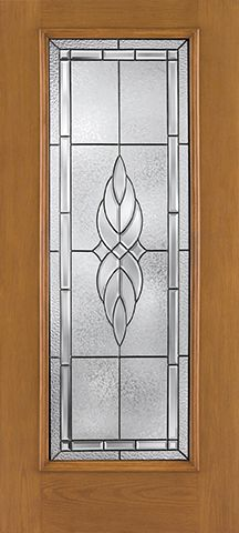 WDMA 34x80 Door (2ft10in by 6ft8in) Exterior Oak Fiberglass Impact Door Full Lite Kensington 6ft8in 2