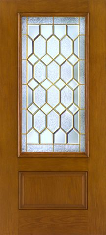 WDMA 34x80 Door (2ft10in by 6ft8in) Exterior Oak Fiberglass Impact Door 3/4 Lite Crystalline 6ft8in 1