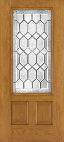 WDMA 34x80 Door (2ft10in by 6ft8in) Exterior Oak Fiberglass Impact Door 3/4 Lite Crystalline 6ft8in 2-Panel 2