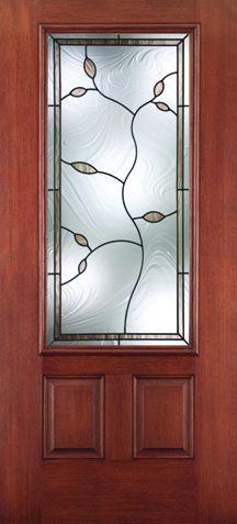 WDMA 34x80 Door (2ft10in by 6ft8in) Exterior Mahogany Fiberglass Impact HVHZ Door 3/4 Lite 2 Panel Avonlea 6ft8in 1