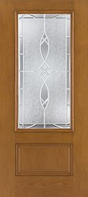 WDMA 34x80 Door (2ft10in by 6ft8in) Exterior Oak Fiberglass Door 3/4 Lite 1 Panel 6ft8in 2