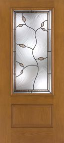 WDMA 34x80 Door (2ft10in by 6ft8in) Exterior Oak Fiberglass Impact Door 3/4 Lite Avonlea 6ft8in 1