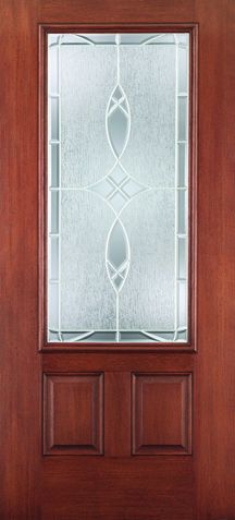 WDMA 34x80 Door (2ft10in by 6ft8in) Exterior Mahogany Fiberglass Impact HVHZ Door 3/4 Lite 2 Panel Blackstone 6ft8in 1