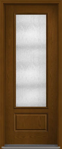 WDMA 34x96 Door (2ft10in by 8ft) Patio Oak Chord 8ft 3/4 Lite 1 Panel Fiberglass Single Exterior Door 1