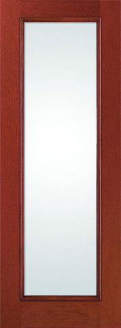 WDMA 34x96 Door (2ft10in by 8ft) French Mahogany Fiberglass Impact Door 8ft Full Lite with Stile Lines Clear 1