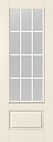 WDMA 34x96 Door (2ft10in by 8ft) Patio Smooth Fiberglass Impact French Door 8ft 3/4 Lite GBG Flat White Low-E 2