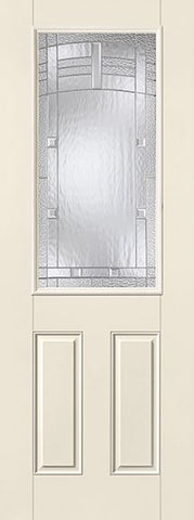 WDMA 34x96 Door (2ft10in by 8ft) Exterior Smooth Fiberglass Impact Door 8ft 1/2 Lite Maple Park 2