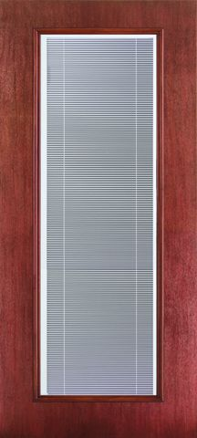 WDMA 34x96 Door (2ft10in by 8ft) French Mahogany Fiberglass Impact Exterior Door 8ft Full Lite Flush Blinds 1