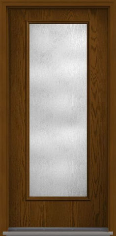 WDMA 34x96 Door (2ft10in by 8ft) Patio Oak Rainglass 8ft Full Lite Flush Fiberglass Single Exterior Door 1