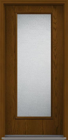 WDMA 34x96 Door (2ft10in by 8ft) Patio Oak Granite 8ft Full Lite Flush Fiberglass Single Exterior Door 1