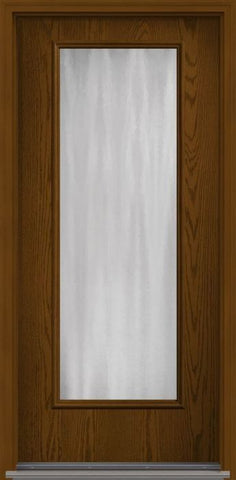 WDMA 34x96 Door (2ft10in by 8ft) French Oak Chinchilla 8ft Full Lite Flush Fiberglass Single Exterior Door 1